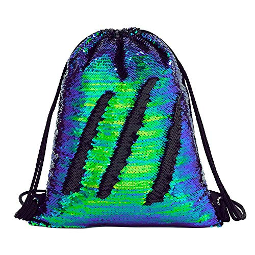 ed660884e3 Deeplive Mermaid Drawstring Bag Magic Reversible Sequin Backpack Glittering  Dance Bag for Yoga Outdoor Sports,