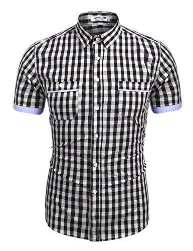 HOTOUCH Herren Kariertes Damenhemd Karobluse Casual Arbeitshemd Freizeithemd Oberhemd Mit Zwei Brusttaschen Kurzarm Schwarz S (Kurzarm-arbeitshemd Button-down)