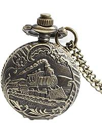 Maybesky Reloj de Bolsillo Retro del Cuarzo del Estilo Antiguo del Tren de Vapor con el Regalo de cumpleaños del Collar de Cadena Caja de Regalo para cumpleaños Aniversario día Nav