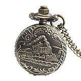 Man-hj Retro Dampfzug Antik Stil Quarz Taschenuhr mit Kette Halskette Geburtstagsgeschenk Uhren