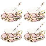 Artvigor, servicio de café de porcelana, juegos de té de 12 piezas con 4 tazas, 4 platillos y 4 cuchara para 4 personas