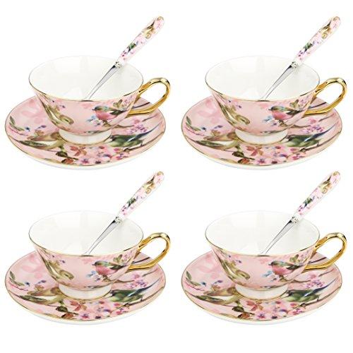 Artvigor 4 Juegos de Tazas de Café de Porcelana, 200ml, Juegos de Caf