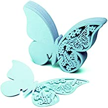 50 Piezas Tarjetas Decorativas para Copas de Papel Decoración en Forma de Mariposa para Cumpleaño Boda Comunión o Fiesta (Azul)