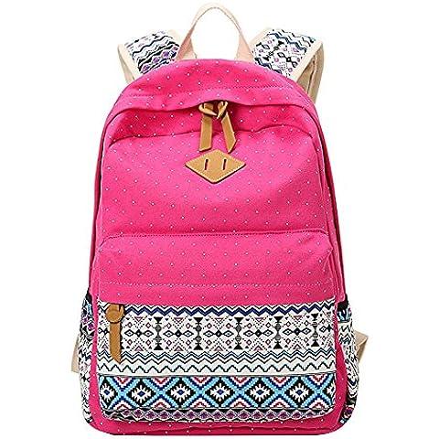 Moollyfox Niña Bohemia punto de impresión Mochila Linda Peso ligero Ordenador portátil bolso de escuela Bolsa de viaje para