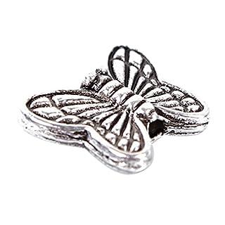 A- szcxtop ™ Selbstklebend, Tibetisches Silber, Schmetterling-Herz-Design Charm Perlen 10 mm