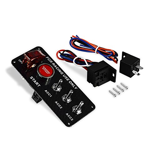Fibre de carbone Racing Car 12 V LED Rouge Interrupteur à bascule Interrupteur d'allumage Panneau Démarrage du moteur Push Button Switch