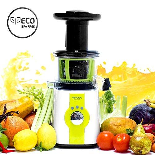 Cecotec C04036 Licuadora para Frutas y Verduras de prensado en frío, Extractor de Jugo, 150 W, 0.8 litros, plástico, Acero, Gris Claro