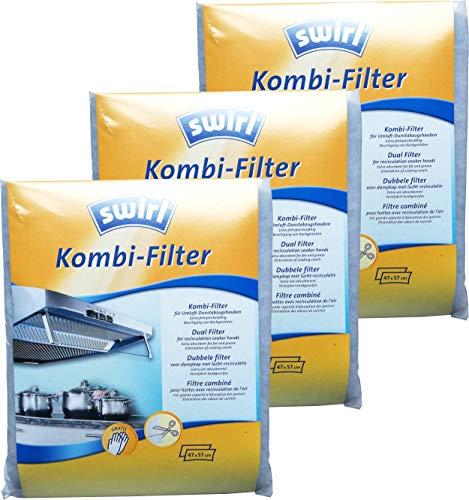3x Swirl Kombi-Filter für Umluft-Dunstabzugshauben 47x57 cm - Aktivkohlefilter mit Dunstfilter Kombifilter