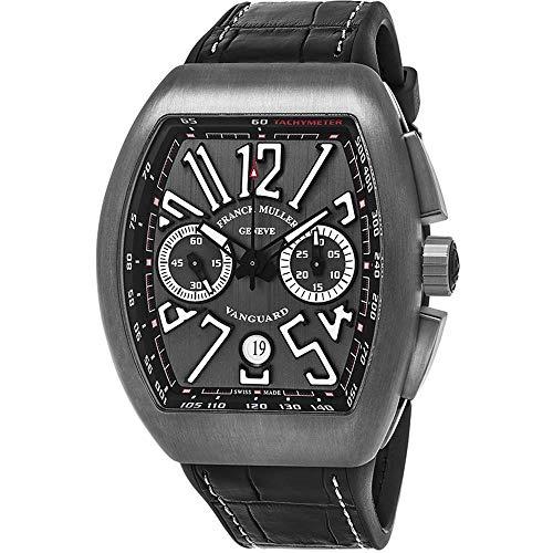 Franck Muller Vanguard Herren-Armbanduhr Armband Leder Automatik 45CCBLKBLKGRY