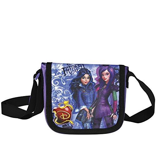 (Perletti Kinder Umhängetasche für Mädchen mit Mal und Evie aus dem Walt Disney Film Descendants - Kleine Umhänge für Kinder mit Frontverschluss - Violett Tasche für Reisen 14x15,5x4 cm)