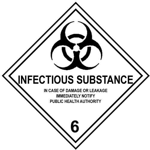 Set 4Etiketten imdg-adr Signage-Klasse 6.2: INFECTIOUS Substance 300x 300