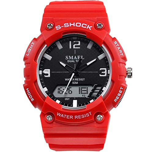 HHyyq Herren Sportuhren Analog-Digital Military wasserdichte Funktionale Armband Silikon Schwarz Sportuhr Uhren Für Chronograph Stoppuhr Classic Silikonband(G)