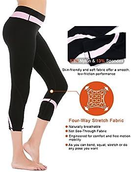 Deeptwist Womens Yoga Pants Running Capri Leggings Power Flex Workout Tights With Back Zipper Pocket Pink, Uk-dt4004-pink-12 4