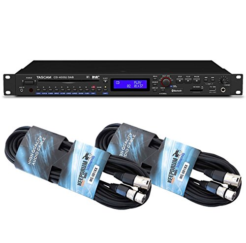 Tascam CD-400U DAB Medien-Player + keepdrum 2 XLR Kabel 6m