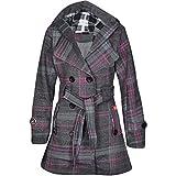 Noroze Damen stylischer Herbst Winter Fleece Mantel, Jacke mit Kapuze, Anthrazit Schottenkaro, 36 (UK 8)