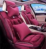 RUIRUI Plüsch Auto Sitzbezug Auto-Sitzkissen, vordere hintere volle Satz-Auto-Sitzabdeckungen für 5 Sitze-Träger , red