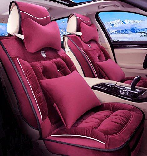 SEAT COVERS RUIRUI Cuscino Sedile Auto della Peluche Copertura Protezioni, coperture Posteriori dell'insieme Completo Posteriore dell'automobile per Il Veicolo di 5 posti, R