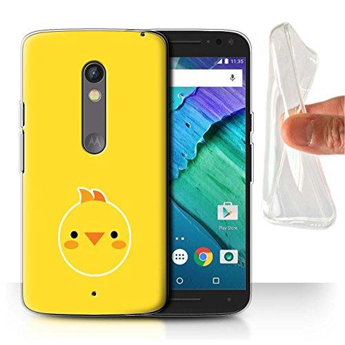 Baby Play Gehäuse (Stuff4 Gel TPU Hülle / Case für Motorola Moto X Play 2015 / Baby-Huhn-Kunst Muster / Niedliche Minimalistische Tiere Kollektion)