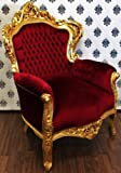 Barock King Sessel Bordeaux/Gold - Möbel Antik Stil