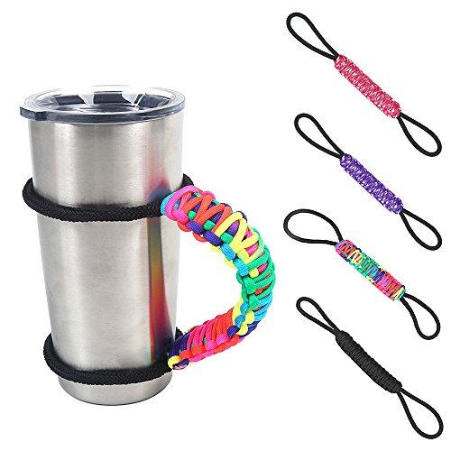 Kangkang Verstellbar Paracord Wasser Flasche Cup Tumbler Griff Flasche Ring Seil Carrier Survival Gurt für Yeti Handbeil Ozark Tumbler Violett 4-cup Carrier