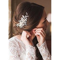 Kercisbeauty Bijou, accessoire de cheveux - vintage, cristaux, perles, fleurs et peigne - Cheveux longs, bouclés, chignon -Pour mariage, mariée, demoiselles d'honneur