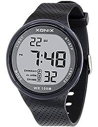 XONIX Hombre Unisex LED Digital resistente al agua 100 m deporte negro silicona blanco pantalla reloj
