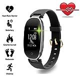 TechCode Fitness Tracker, Bluetooth Wasserdichte Smart Uhr Mode Frauen Damen Pulsmesser Fitness Tracker Smart Uhr Für Android IOS (Schwarz)