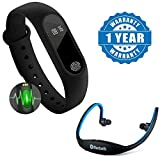 #7: Captcha Heart Rate Monitor Bluetooth Health Fitness Tracker Smart Band With Wireless Bluetooth On-Ear Sports Headset With Micro Sd Card Slot & FM Radio Compatible with Xiaomi, Lenovo, Apple, Samsung, Sony, Oppo, Gionee, Vivo Smartphones (One Year Warranty)