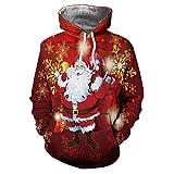 ZZBO Weihnachten Herren Pullover Sweatjacke 3D Santa Gedruckt Hoodie Kapuzenjacke Langarm Hoody Sweatshirt Kapuzenpullover Winter Warm Kapuzenshirt mit Kängurutasche für Sport Freizeit M-XXXL