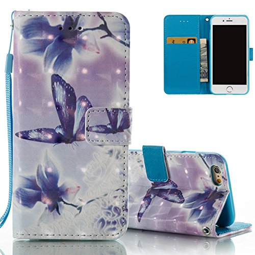 iPhone 6 plus Leder Brieftasche, iPhone 6S plus Wallet Case Cover, Aeeque® 3D Full Body Premium Trennbar Tragegurt [Standfunktion Kartenfächer] Blau Dreamcatcher Feder Muster Kunstleder Schale Handyta Schmetterlings Blumen