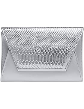 CASPAR TA386 stylische große Damen Envelope Clutch Tasche / Abendtasche mit Kroko Applikation