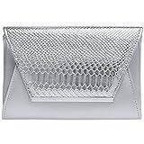 Caspar TA386 stylische große Damen Envelope Clutch Tasche Abendtasche mit Kroko Applikation, Farbe:silber, Größe:One Size