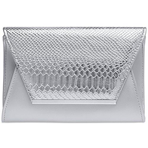 CASPAR TA386 stylische große Damen Envelope Clutch Tasche/Abendtasche mit Kroko Applikation