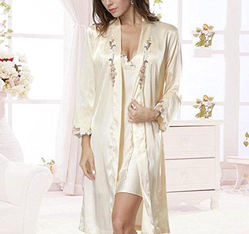 SZXC Damen Satin Pyjamas Silk Pyjamas Traditionelle Lange Ärmel Classic 2 Sets , champagne , (Kimono Hell Kostüm Girl)