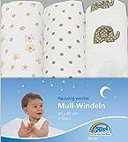 Alvi 93819 Mull Windeln beige bedruckt, 3 Stück thumbnail