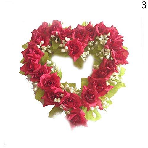 al Flower Wreath Herzform Seide Rose Kränze Garland für Hochzeit Dekoration (Rot) (Rote Herz Kranz)
