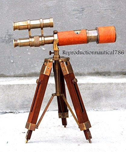 Hayah Nautisches Marine Pirat Antik Messing Doppeltes Barrel Spyglass Teleskop mit Holzstativ -