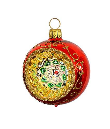 Thüringer natale 52-040 christ albero sfera con reflex, 6 cm, rosso, reflex multicolore, 3 pcs