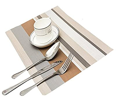TININNA 6 Pcs Classic Stripe Waterproof Placemat Insulation Mat Set Table Mat PVC Weave Placemats - low-cost UK light store.