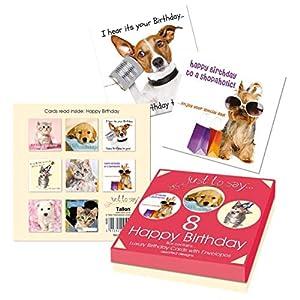 Just to Say 4493 - Tarjetas de cumpleaños (8 unidades), diseño de mascotas