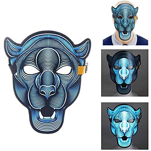 JCT LED Halloween Maske Sound Activated Masks Soundaktiviert Maske Musik Sprachsteuerung Glow in Dark für Festival, Cosplay, Party, Halloween Tanz Rave Geschenk Kostüm Requisiten - Tiger Tanz Kostüm