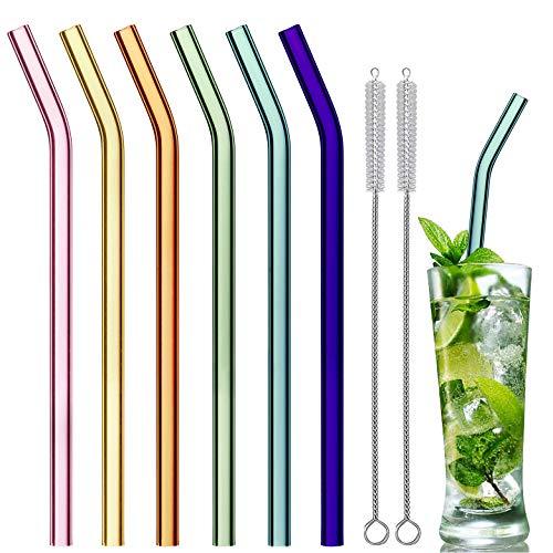 Kunststoff Patio Set (ELIRIVAWET Glas Strohhalme Wiederverwendbar Trinkhalm, Gebogen 21.5 cm x 8 mm handgefertigt - 6er Set mit 2 Reinigungsbürsten, Glastrinkhalme Glasstrohhalme - gesund, umweltschonend, frei von BPA)