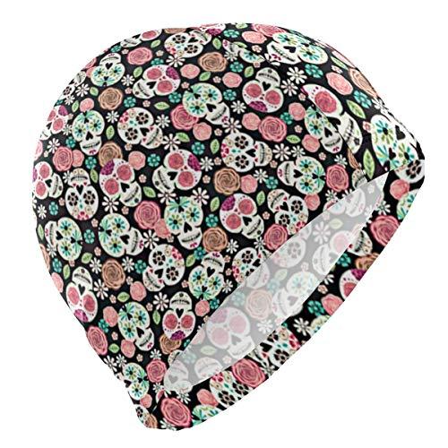 kappe Sugar Skulls Color Floral Lycra Swim Cap Swimming for Women Men ()