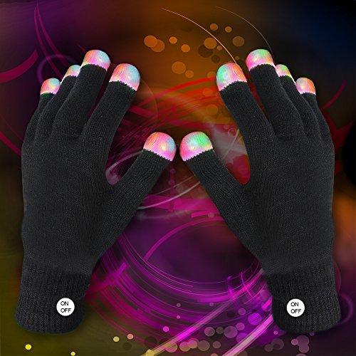 Light up Rave Gloves The Best Glow in the Dark Raving Gloves - Black ()