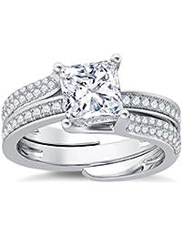 Silvernshine Interchangable Engagement Ring Set 14K White Gold Plated 2.35Ct Clear Sim Diamonds