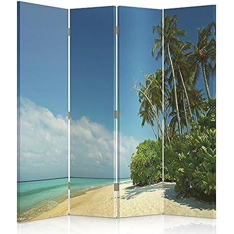 Feeby Frames Biombo impreso sobre lona, tabique decorativo para habitaciones, a doble cara, de 4 piezas, 360° (145x180 cm), PAISAJE, PLAYA, PALMERAS, MAR, AMARILLO, AZURE