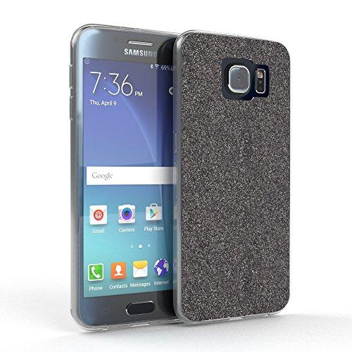 EAZY CASE Hülle für Samsung Galaxy S6 Schutzhülle mit Glitzerrückseite, Ultra dünn, Silikon Slimcover, Handyhülle, TPU Hülle/Soft Case, Silikonhülle, Backcover Quartz Design, Anthrazit