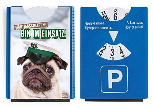 Fun Spaß Motiv Parkscheibe mit Eiskratzer und Gummilippe witziger Mops 'Nicht abschleppen, bin im Einsatz!'
