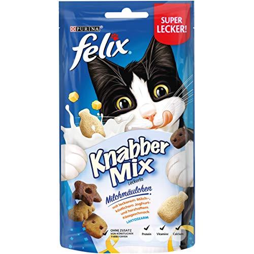 FELIX KnabberMix Katzen-Leckerlis mit Proteinen, Vitaminen & Omega 6, Katzen-Snacks ohne Zusatz künstlicher Farbstoffe, Menge: 8er Pack (8x60g Beutel) -
