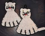 1 Paar gehäkelte Topflappen - Katze